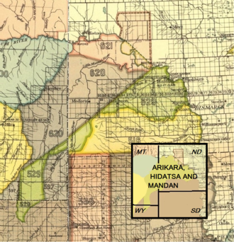 Mandan, Hidatsa, and Arikara Nation - Arikara, Hidatsa and Mandan 1851 treaty territory. (Area 529, 620 and 621 south of the Missouri). Fort Berthold Indian Reservation included land both south and north of the Missouri (the light pink area). The acreage of the reservation was reduced later.