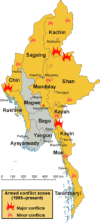 Internal conflict in Myanmar Series of primarily ethnic-based insurgencies in Myanmar that began in 1948