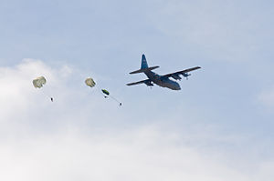 440th Airlift Wing - Wing C-130 Hercules drops soldiers in an exercise at Fort Bragg