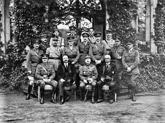 British Army of the Rhine - Formal group photograph of British and French officers and commissioners outside the house of the Commander-in-Chief Allied Armies of Occupation, Marienberg
