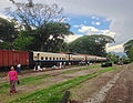 Arriving in Hsipaw, Myanmar. This is the train from Mandalay that crosses the famous Goteik Viaduct. (14385249383).jpg