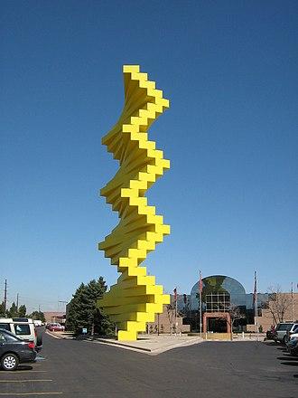 Broadway Plaza (Denver) - Articulated Wall sculpture. Denver Design Center is beyond it.