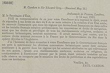 Asia Minor Agreements - Paul Cambon, Ambassade de France, Londres to Sir Edward Grey, 15 May 1916 (received 16 May 1916).jpg