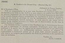 Acuerdos de Asia Menor - Paul Cambon, Ambassade de France, Londres a Sir Edward Gray, 15 de mayo de 1916 (recibido el 16 de mayo de 1916) .jpg