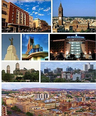 Asmara - From top: Cinema Impero, St. Joseph's Cathedral, San Francesco d'Assisi Monument, Fiat Tagliero Building, Hotel Intercontinental Asmara, Enda Mariam Cathedral, Skyline of Asmara, View of Asmara from St. Joseph's Cathedral
