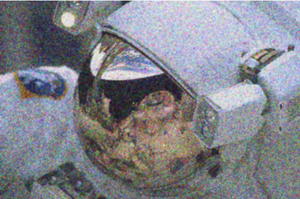 Wiener filter - Noisy image of astronaut after Wiener filter applied.