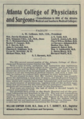 """Atlanta College of Physicians and Surgeons (""""American medical directory"""", 1906 advert).png"""