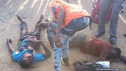 Wounded people following a bomb attack by Boko Haram in Nyanya, in April 2014 Attentat Nyanya VOA2.jpg