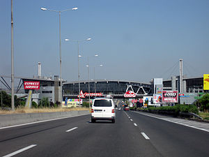 Highways in Greece - Rest area along Motorway 1 (A1) near Athens, Greece with a restaurant above the road