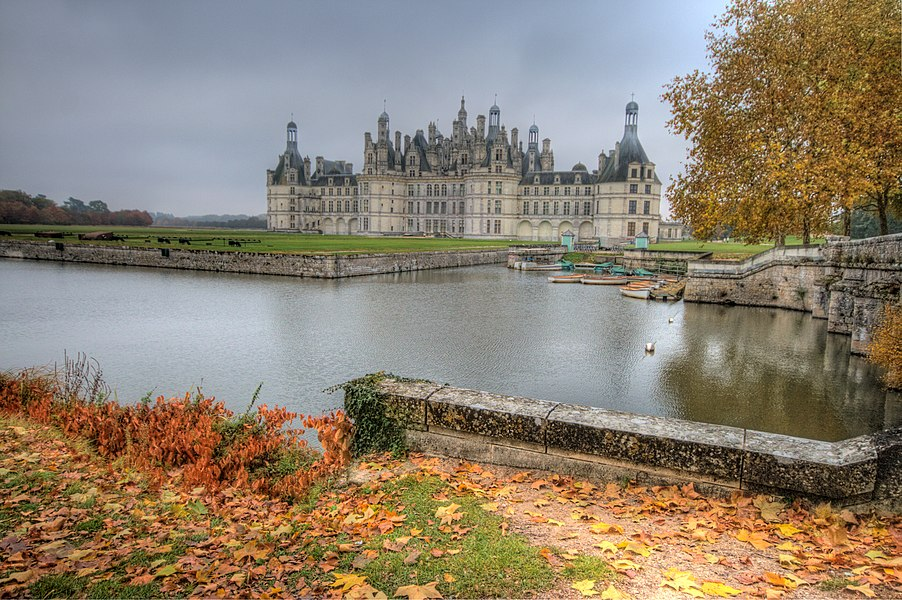 The Chateau de Chambord since west path. Fall colors and light.