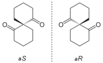 Axially chiral enantiomers of an isomeric pair of spiro compounds.