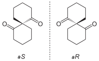 Spiro compound -  Axially chiral enantiomers of an isomeric pair of spiro compounds.