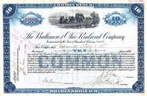 Stock - Stock certificate for ten shares of the Baltimore and Ohio Railroad Company