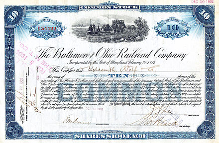 Stock certificate for ten shares of the Baltimore and Ohio Railroad Company B&O RR common stock.jpg