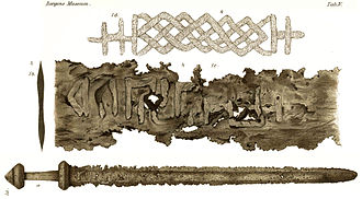 "Sæbø sword - Drawing from table IV in the book ""Den yngre jernalders sværd"" by Anders Lorange, 1889."