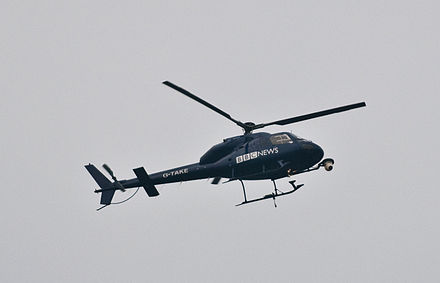 BBC News helicopter in use over London BBC News helicopter watching over the cuts protest.jpg