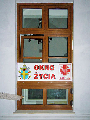 "Baby hatch - Baby hatch in Poland. The label OKNO ŻYCIA means ""Window of Life"""