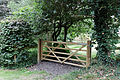 Back lane gate north of church Barfrestone Kent England.jpg