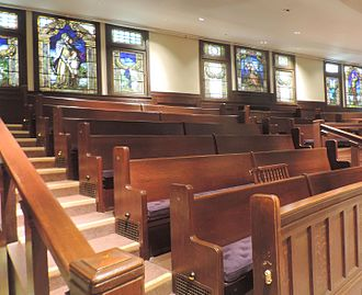 Ethical movement - Pews and stained glass