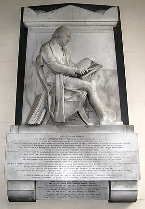 Isaac Hawkins Browne (coal owner) - Memorial to Isaac Hawkins Browne and his second wife, Elizabeth, by Francis Leggatt Chantrey, in St. Giles' church, Badger.