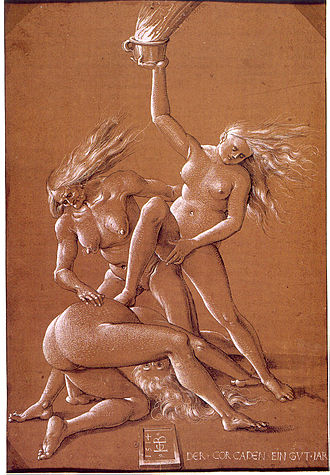 European witchcraft - Hans Baldung Grien's Three Witches, c. 1514