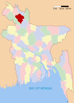 Location of Rangpur in Bangladesh