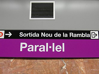 Interpunct - Metro station Paral·lel in Barcelona.