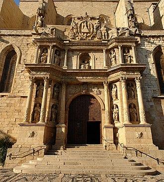 Montblanc, Tarragona - Barroque entrance of the church of Santa Maria