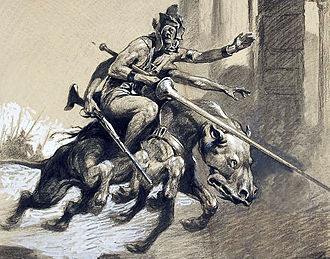 Barsoom - A four armed Green Martian on his thoat, as represented in the original 1920 edition of Thuvia, Maid of Mars.