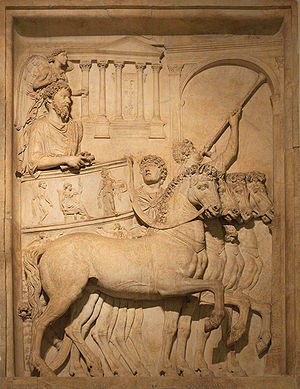 Music of ancient Rome - Tuba player (upper right) in a relief depicting Marcus Aurelius in triumph