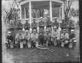 Baseball team posed in front of bandstand - NARA - 285365.tif