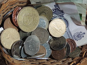 Currency basket - A literal basket of currency.