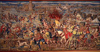 Italian Wars - Detail of a tapestry depicting the Battle of Pavia, woven from a cartoon by Bernard van Orley (c. 1531)