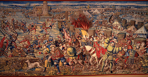 Detail of a tapestry depicting the Battle of Pavia, woven from a cartoon by Bernard van Orley (c. 1531) Battle of Pavia.jpg