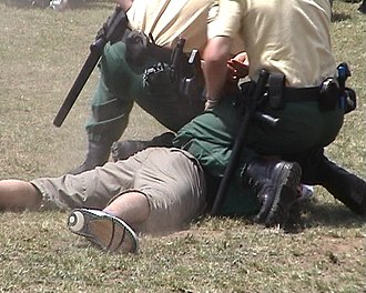 Police duty belt - German policemen subdue an offender. Both officers have nightsticks, sidearms, handcuffs and radios clipped onto their duty belts.