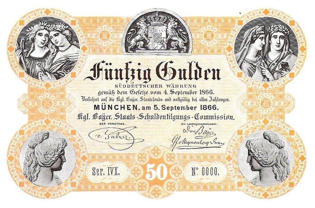 Bayerische Staatsschuldentilgungscommission 50 Gulden 1866
