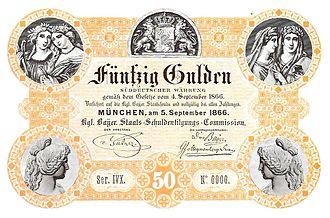 Bavarian gulden - 50-gulden note (dated 1866)