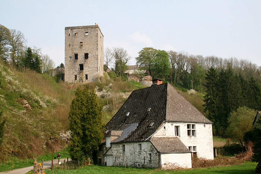"Beaumont, Belgium, the former communal water mill (XVIIth century) and the ""Tour Salamandre"" (XIth century)."