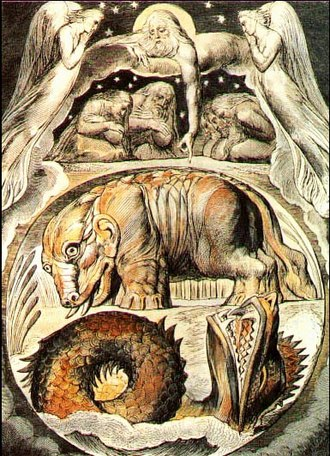 Behemoth - Behemoth and Leviathan, watercolour by William Blake from his Illustrations of the Book of Job.