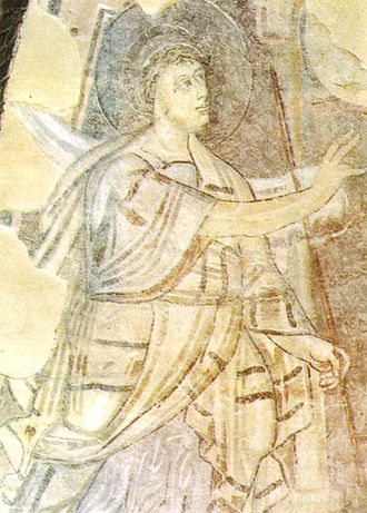 Santa Sofia, Benevento - Detail of the frescoes, with the Annunciation of Zacharias.