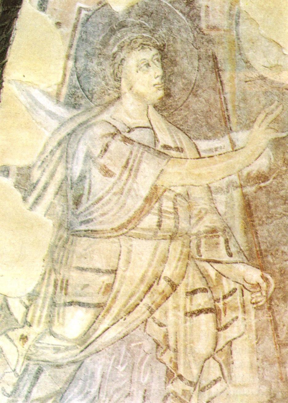 Benevento, chiesa di santa sofia, annuncio a zaccaria (particolare) affresco fine VIII inizio IX secolo