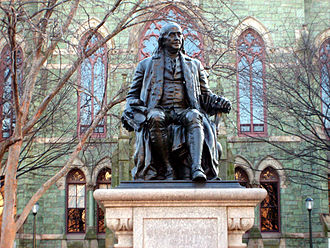 This statue of Benjamin Franklin donated by Justus C. Strawbridge to the City of Philadelphia in 1899 now sits in front of College Hall. Benjamin Franklin statue in front of College Hall.JPG