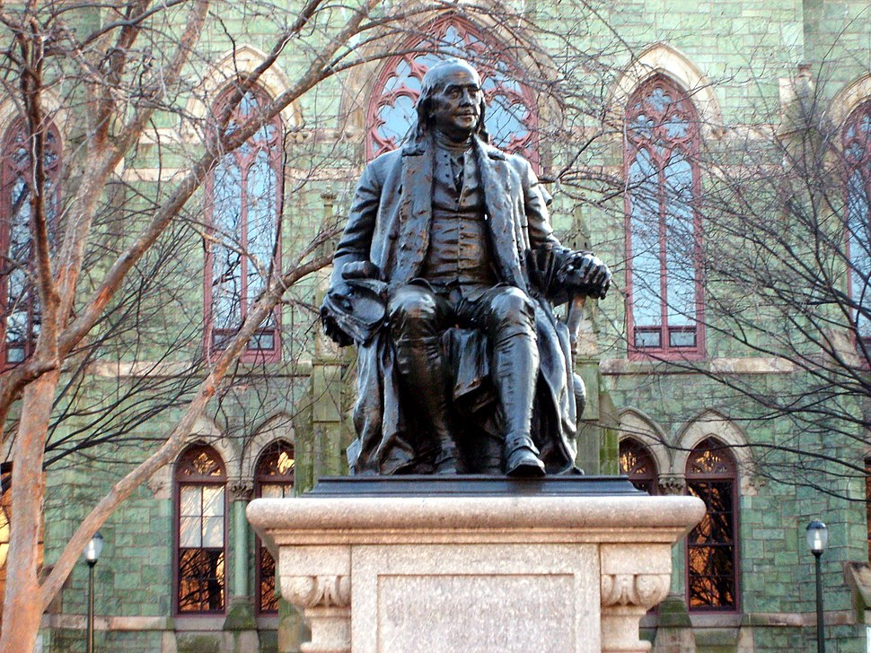 Benjamin Franklin statue in front of College Hall