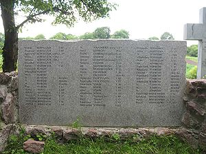 Massacres of Poles in Volhynia and Eastern Galicia - Tablet with names of Poles killed in Berezowica Mala,  in present-day Ukraine