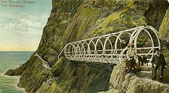 The Gobbins - Postcard of The Tubular Bridge - believed to show the creator of The Gobbins, Berkley Deane Wise and his wife, Leah, in about 1902.