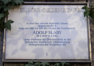Adolf Slaby - Citizen of Berlin Gedenktafel in Berlin Charlottenburg (road of the 17.  June 1952)
