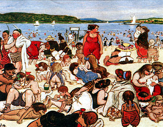 Schwabenhass - Beach life in Berlin (1901) as depicted by Heinrich Zille