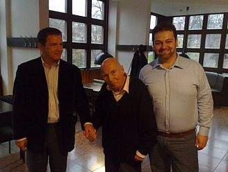 Giorgio Berrugi - Giorgio Berrugi with Composer Hans Werner Henze and co-librettist Michael Kerstan during rehearsals for the World premiere of the Dresden version of Gisela!