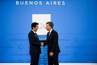 Argentina–Japan relations - Japanese PM Shinzō Abe (left) and Argentine President Mauricio Macri on November 30, 2018.