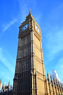 The clock tower that houses the bell named Big Ben